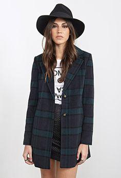 Wool-Blend Plaid Overcoat   FOREVER21 - 2000119902
