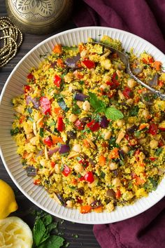 Moroccan Couscous Recipe (with Roasted Veggies) – Cooking Classy Couscous with Roasted Vegetables, Chick Peas and Almonds Chickpea Recipes, Vegetable Recipes, Vegetarian Recipes, Cooking Recipes, Healthy Recipes, Vegetarian Grilling, Healthy Grilling, Chickpea Salad, Healthy Food
