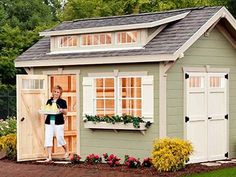 Shed Plans Craftsman style sheds by Weaver Barns distributed by Amish Buildings Now You Can Build ANY Shed In A Weekend Even If You've Zero Woodworking Experience! Craftsman Sheds, Craftsman Style, Backyard Sheds, Outdoor Sheds, Shed Building Plans, Shed Plans, Building Permit, Building Ideas, Building Design