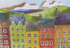 Village by Lake bright watercolor houses print by plumwaterdesigns