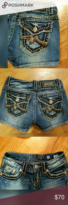 Miss Me Irene Jean short/sz.24 These Miss Me Irene shorts look amazing on!! So adorable!! Tight fit! Size 24 equivalent to a 00 /0 . Beautiful color & amazing detailed stitching!   Also any items purchased from my closet , you'll receive  Victoria's Secret's freebies!! Miss Me Shorts Jean Shorts