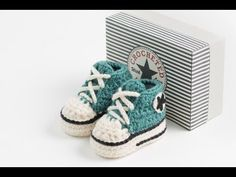 How to crochet My easy new born baby converse style slippers p2 - YouTube