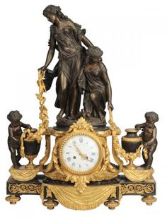 "Patinated Bronze Figural Mantle Clock French, third quarter 19th century, dial signed [Raingo Fres Paris,] bronze back stamped ""H. Picard"", surmo"