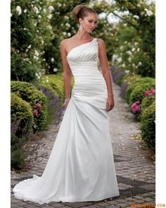 One shoulder wedding dress. Simple and beautiful. It would definitely need some bling, maybe a belt.