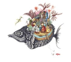 """""""Seaside"""" by Brandy Masch, watercolour and gouache on paper in) 2009 at Mayberry Fine Art Canadian Artists, Children's Book Illustration, Fantasy, Gouache, Seaside, Folk Art, Moose Art, Symbols, Watercolor"""