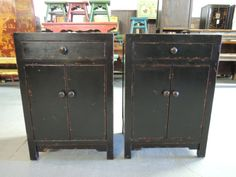 Pair of Chinese Nightstands or End Tables in Black (Los Angeles) Console Storage, Locker Storage, Nightstand Ideas, Reproduction Furniture, Nightstands, Chinese Antiques, Buffets, End Tables, Consoles