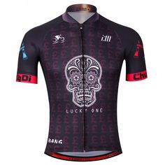Lucky One Skull Black Cycling Jersey