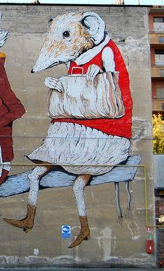 Madame Rat des champs en vacances chez Monsieur Rat des villes... / Street art. / Italie. / Italy. / By KaseyBelleFox.