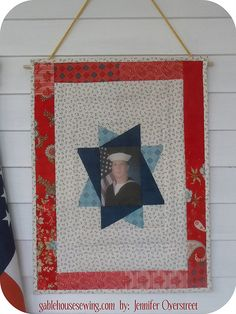 Memorial Day ProjectsTutorial on the Moda Bake Shop. http://www.modabakeshop.com Thinking great for my uncle - get a hold of navy dress pic of him and go - how special