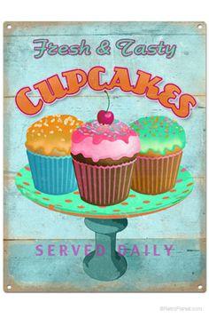 Retro Fresh Cupcakes Tin Sign