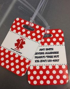 These medical alert bag tags are brilliant. For anyone with a child with a severe food or other allergy or other medical condition - let me know if you are interested in designing a set of these tags for backpacks, lunch bags, sports bags, etc.