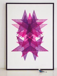 rhodamine red, purple, stars, letterpress, lasercut, poster, printing, lucky budgie, vandercook, aardvarkonsea, aardvark letterpress, pattern print