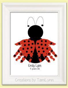 Ladybug Handprint Art - Personalized Baby Nursery, Child's Room, Girls' Room, Mother's Day, Grandparent Gift