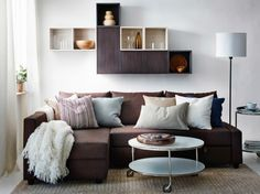 A modern living room with a brown FRIHETEN sofa bed by IKEA, VALJE wall cabinets in brown and white and a white STRIND coffee table. Corner Sofa Living Room, Ikea Living Room, Living Room Seating, Living Room Sets, Living Room Interior, Living Room Furniture, Living Room Designs, Sofa Furniture, Pallet Furniture