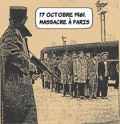 17 octobre 1961 : Massacre à Paris ... Les tensions entre policiers et indépendantistes algériens atteignent des sommets la nuit du 17 octobre 1961.  ... Le 5 octobre la France impose un couvre-feu aux Nord-Africains. Alors le FLN (Front de Libération Nationale) organise une manifestation nocturne et pacifique dans les rues de Paris. Le préfet de police de Paris Maurice Papon provoque alors le FLN ce soir du 17 octobre.  ... Le président Charles de Gaulle autorise Papon à disperser la… Gaulle, Rues, Maurice, Nocturne, France, Movies, Movie Posters, The Pacific, Africans