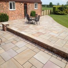 Sawn Buff & Honed 4 Sizes - Paving Stones Direct Paving Stones Direct, Small Backyard Landscaping, Backyard Designs, Sandstone Paving, Patio Slabs, Garden Paving, Natural Stones, Garden Design, New Homes