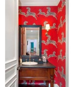 Whimsical wallpaper for a powder room