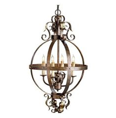 Currey and Company 9390 Coronation 4 Light Single Tier Chandelier Cupertino/Gold Leaf Indoor Lighting Chandeliers French Decor, French Country Decorating, Home Lighting, Chandelier Lighting, Seashell Chandelier, Hallway Chandelier, Metal Chandelier, Outdoor Lighting, French Country Chandelier