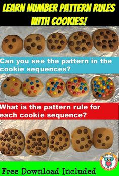 The idea behind this teaching strategy is to help students develop the ability to come up with a pattern rule for a number sequence. The 'chocolate-chip cookies' are a visual way to help students think about a rule for a number pattern. Teaching Patterns, Math Patterns, Number Patterns, 2nd Grade Teacher, 3rd Grade Math, Third Grade, Fourth Grade, Grade 3, Teaching Numbers