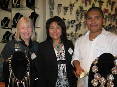 Veronica and Dylan Poblano (Zuni jewelers) with Diana Pardue, Curator of Collections. Heard Museum, Phoenix, Arizona [PCD282:IMG_0124]
