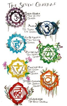 Today: a hand painted intro to chakras! Chakras, according to the Tantric and yogic tradition, are energy centers associated with . Chakra Tattoo, Om Tattoo, Tatoo Art, Lotus Tattoo, Namaste Tattoo, Ganesha Tattoo, Samoan Tattoo, Arte Chakra, Chakra Art