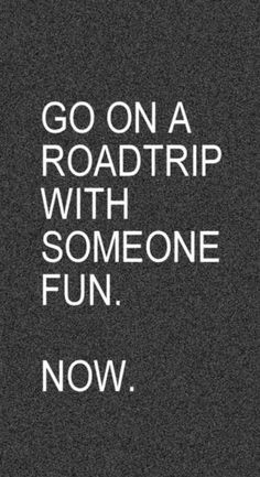 go on a road trip with someone fun. now.