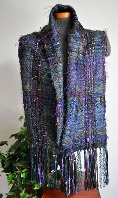 Hand Woven Saori Style Scarf Shawl ... love this style and the colors!!! very pretty and great for work...