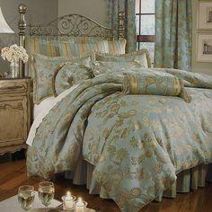Darlene Aqua Blue Tan Jacquard Floral Queen or King Comforter Set | eBay