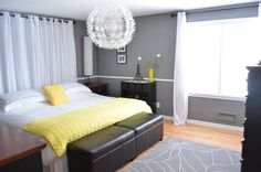 Our master bedroom went through a recent makeover and today I am spilling all of the details! This room was actually the very first thing that I painted when we first moved into our house six years… Yellow Master Bedroom, Inviting Home, Modern Light Fixtures, First Home, My Room, Bedroom Decor, Bedroom Ideas, Bedroom Inspo, House Tours
