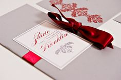 Booklet Wedding Program - Bi-Fold with Ribbon