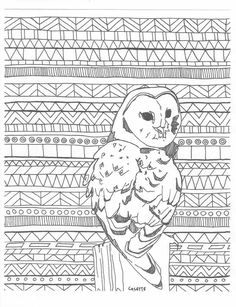 Aztec Adult Coloring Page Printable Digital Owl Tribal Background Zentangle