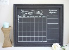 Custom traditional frame chalkboard Milestone calendar for child's room.  Add your memorable dates and moments.  Great for monthly photos.