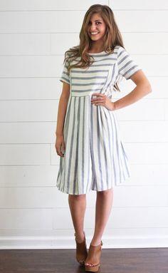 Inspiration. Blue Stripe Pocket Dress