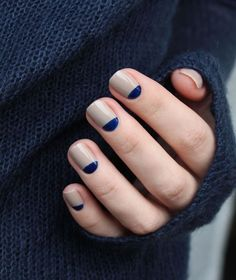 Chanel Frenzy with blue half moons nail design Nail Design, Nail Art, Nail Salon, Irvine, Newport Beach