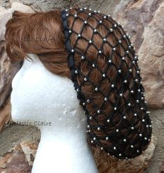 Ready for immediate shipment, this snood is already made & is ready to go! This snood hairnet is made from #10 black cotton crochet thread and there are a ba-zillion Czech Metal Antique Silver beads crocheted on each and every row throughout the netting. (Use the Zoom tool to see the