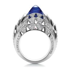Skyscraper by Harry Winston, Cabochon Sapphire and Diamond Ring