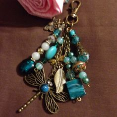 Beaded Dragonfly zipper pull purse dangle fob by JansBeadCreations