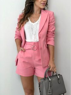 Beautiful looks with Blazer - fashion trends - Office Outfits, Mode Outfits, Short Outfits, Classy Outfits, Chic Outfits, Trendy Outfits, Girl Fashion, Fashion Dresses, Fashion Looks