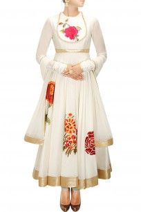 Ivory floral applique work anarkali set