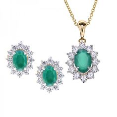 Petite #pendantset , featuring an #emerald center gemstone, surrounded by round brilliant #diamonds with matching earrings, crafted beautifully in 18 karat yellow gold. - See more at: https://www.rajjewels.com/sanipriya-diamond-pendant-set-18-k-gold-dns43773.html#sthash.5vOSRfQc.dpuf