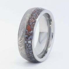 Probably the coolest ring I've ever seen.  Dinosaur Bone and Meteorite Inlay. Dinosaur Bone and Meteorite. Yes.