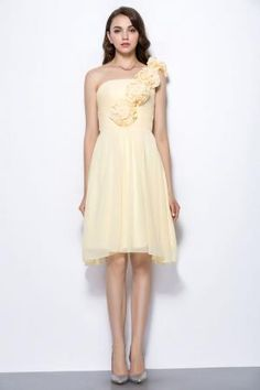 daffodil yellow flowers one shoulder short custom bridesmaid dress
