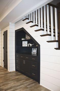 under stair storage Basement Renovations, Home Renovation, Home Remodeling, Staircase Storage, Under Stair Storage, Cabinet Under Stairs, Hallway Shelving, Built In Storage, Foyer Decorating