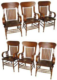 6 American quartersawn oak arrow-back arm chairs, 4.2Gs