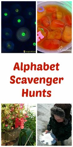 Alphabet Scavenger Hunts for Kids plus more! Great ideas for including the alphabet in every center. Send this to Adriane Preschool Literacy, Preschool At Home, Early Literacy, Literacy Activities, Educational Activities, Kindergarten, Alphabet Activities, Craft Activities For Kids, Toddler Activities