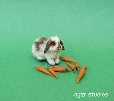 OOAK-1-12-Dollhouse-Miniature-Bunny-Rabbit-Lop-Eared-Cage-Furred-Handmade-IADR