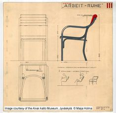 Drawing for chairs 'Arbeit – Ruhe', Aalto's entry for Thonet Mundus furniture design competition in 1929. - Image - Design Build Network