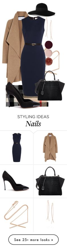 """The Power of Navy!"" by sabrina89 on Polyvore featuring Carbon & Hyde, Diane Kordas, Burberry, Nails Inc., Harris Wharf London, Victoria Beckham, Casadei, Eugenia Kim, Fendi and WorkWear"