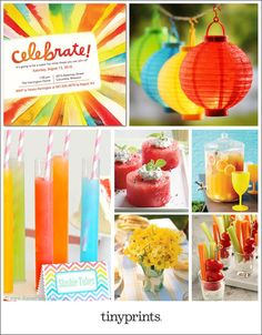 Your summer party should be light, bright, and carefree, like the season itself. Mix and match fun colors for your decor, and keep the menu simple and refreshing.