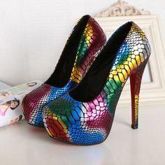 Rainbow Slip On Ultra High Heels